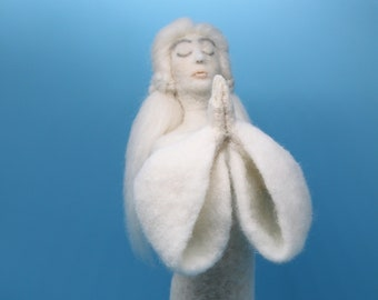 """Wool Needle Felt Sculpture Art Doll, """"Compassionate Supplication"""" - faith, love, prayer for humanity in times of need - All Wool, Handmade"""