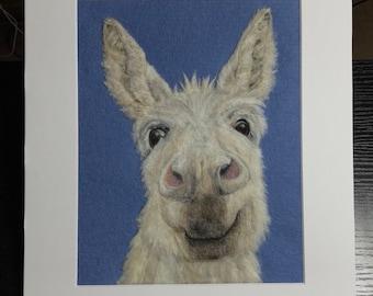 Winter Mule, Smiling Donkey Portrait - Needle Felted Wool Picture Wall Art