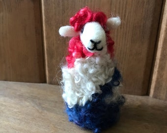 Patriotic Red, White, Blue Swirl Sheep, Needle Felt Curly Locks Ewe for 4th of July, Americana or Summer Decoration
