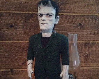 Custom Made Frankenstein Monster Collector Art Doll - 100% Needle Felted Wool Sculpture - FREE US SHIPPING