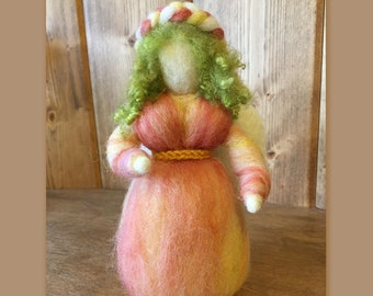 Waldorf-inspired Garden Fairy, Spring Angel -Green Curly Locks Hair, White Wings, Peach Coral Yellow Gown - Standing Needle Felted Wool Doll