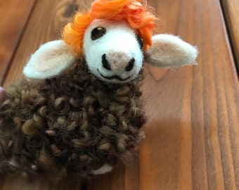Needle Felt Wool Ewe Sheep, Adorable Unique Lamb in a Laying Pose, Brown Curly Locks with Curly Orange Bangs - A Colorful OOAK Rustic Sheep