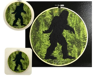 Bigfoot, Sasquatch, Yeti, PNW Legend, Needle Felt Wool Bigfoot Silhouette on Green Forest Printed Cotton Framed in a Bamboo Hoop - Wall Art