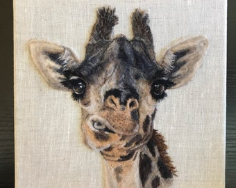 Realistic Giraffe Portrait, Chewing, Big Eyes, Sweet Face - Needle Felted Wool Picture on Linen