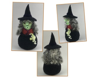 What a World - Witch Brewing in Her Cauldron, Perfect for Halloween. Green Skin, Long Curly Gray Hair, Potion Bubbles, Equally Scary & Fun