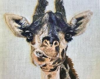 "Giraffe Fine Art Print of Artist's Needle Felt Giraffe Wool Painting, High Quality 8""x8"" Giclee Print, Great Details"