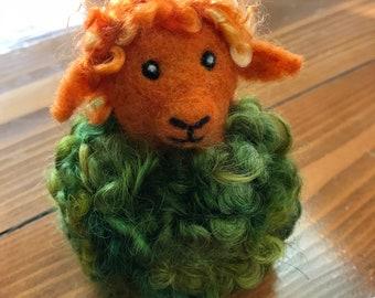 Autumn Sheep, Needle Felt Ewe Covered in Green Curly Locks, and a Face of Orange Merino Wool - Perfect Fall or Halloween Sheep