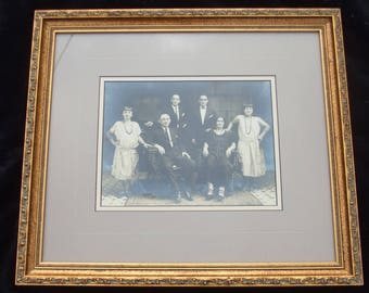 Vintage Framed/Matted Black and White Flapper Era Family Photo , Old 1920s Era Family Portrait , Jazz Age, Framed In Hollywood