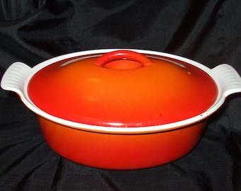 Vintage Descoware Flame Covered Casserole,  Dutch Oven Made in Belgium, Enamel Belgian Ovenware, 16C 22 FE Mid Century Red Orange Baker