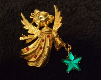 Free Shipping Vintage Christmas Angel with Star Goldtone Brooch, Unsigned Christmas Holiday Pin , Old Holiday Accessory