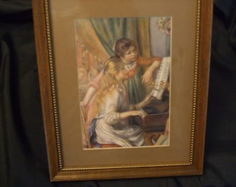 Vintage Renoir Print, Two Young Girls at the Piano Framed Print