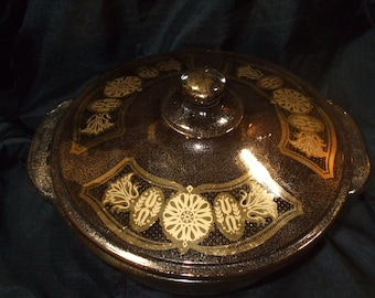 Excellent Vintage Georges Briard Covered Casserole, MCM Fire King Glass Smoke and Gold, 2 Quart Covered Dish with Lid