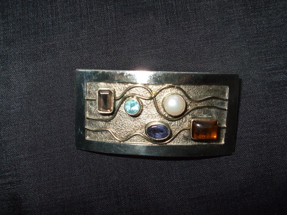 Vintage Memphis Style Silver Brooch,  New Wave Gem