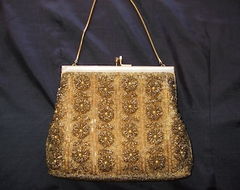 Vintage Gold and Silver Beaded Evening Bag, Excellent Condition Made in Hong Kong, Floral Bridal or Formal Wear Bag