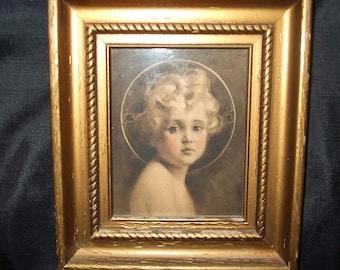 Vintage Light of the World Framed Print, Lovely Small Gilt Detailed Frame, Old Christ Child Portrait, Charles Bosseron Chambers