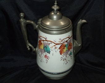 Antique to Vintage Enamel Coffeepot, Metal Coffee Pot with Hand Painted Leaves