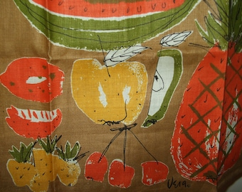 Vintage Vera Fruit Tea Towel, Retro Kitchen Linen with Watermelon, Cherries, Apple, Berries, Pineapple, Mod Graphics Vera Neumann