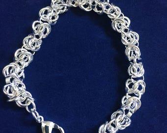 Vintage Retro Silver Circle Chain Link Bracelet