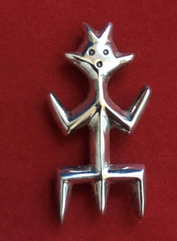 Vintage Sterling Silver Primitive Man Brooch
