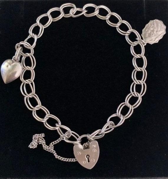 Vintage Sterling Heart Padlock & Charm Bracelet