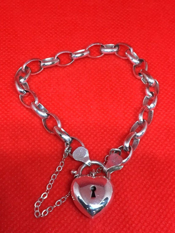Vintage Sterling Bubble Heart Padlock Bracelet