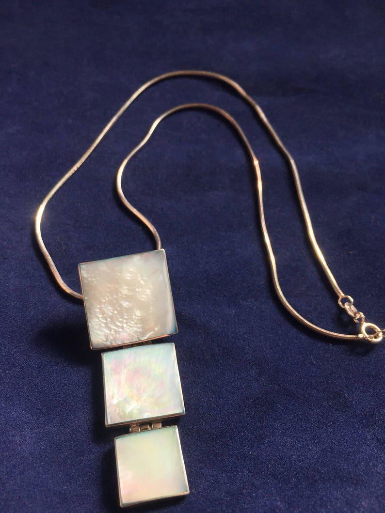 Vintage Retro Sterling Silver MOP Necklace