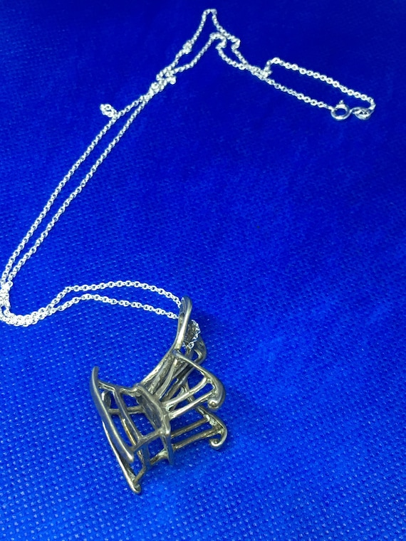 Vintage 925 Sterling Rocking Chair Pendant Necklac