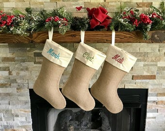 3 personalized burlap christmas stockings family christmas stocking set