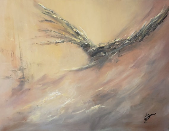 Abstract acrylic painting in neutral colors of a misty seascape and a bird  taking flight, tybi studio