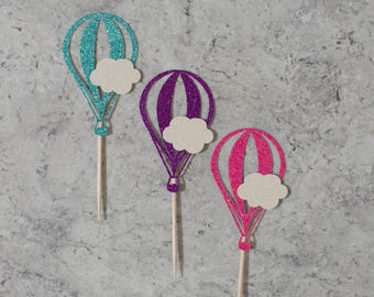 Hot air balloon cupcake toppers; Birthday cupcake toppers