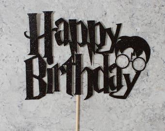 Harry Potter Themed Happy Birthday Cake Topper