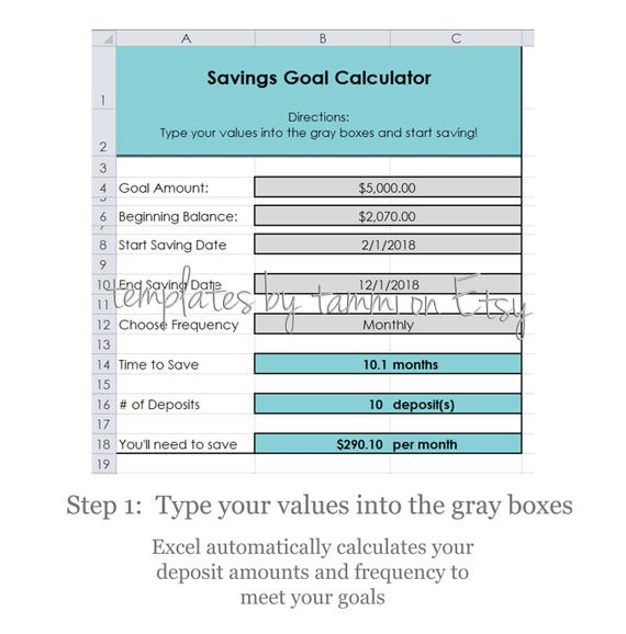 easy excel savings goal calculator savings calculator etsy