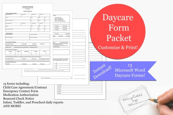 Daycare Form Pack Records Forms Editable