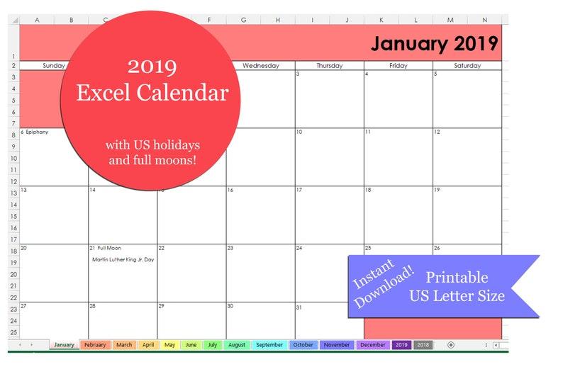 Excel 2019 Calendar Printable Printable 2019 Excel Calendar Etsy