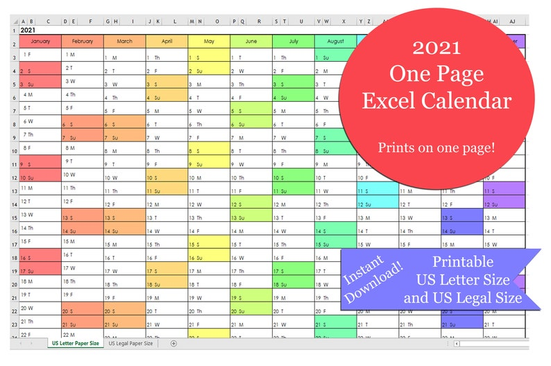 2021 One Page Excel Calendar | Etsy