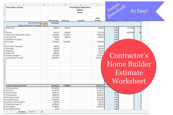 excel home builder s estimate excel contractor s etsy