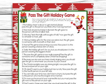 Pass the Gift Game, Pass the Present Game, Pass the Parcel Game, Christmas Party Game, Christmas Eve Game, Instant Download, Xmas Game