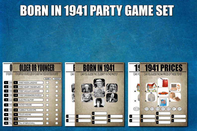 Price Is Right 1941 Movies 80th Birthday Printable Games,Instant Download 1940s Trivia 80th Birthday Party Games 1941 Birthday Games