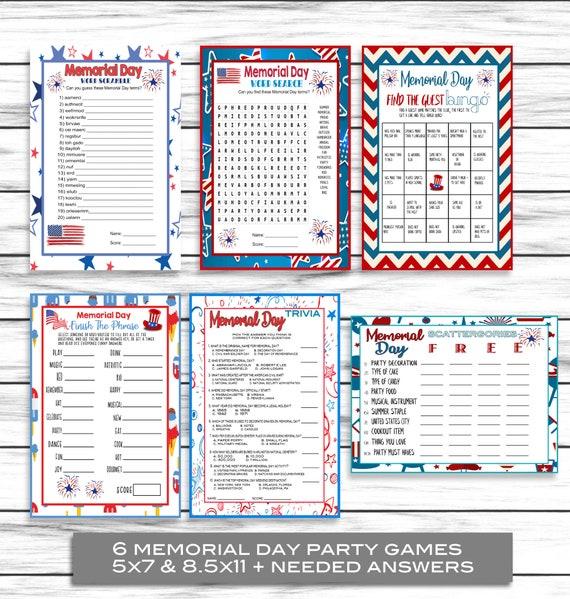 Memorial Day Games Memorial Day Party Games Trivia