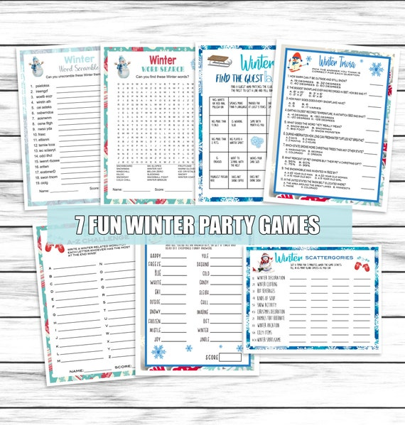 Winter Fun Games Winter Party Games Trivia  Scattergories