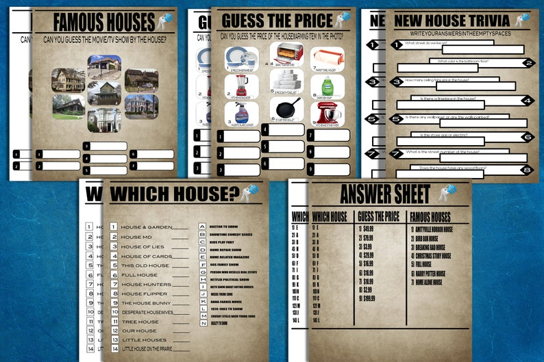 House Warming Party: New Home Trivia Games Housewarming Games Instant Download for New Home Party House Warming Games Bundle Set