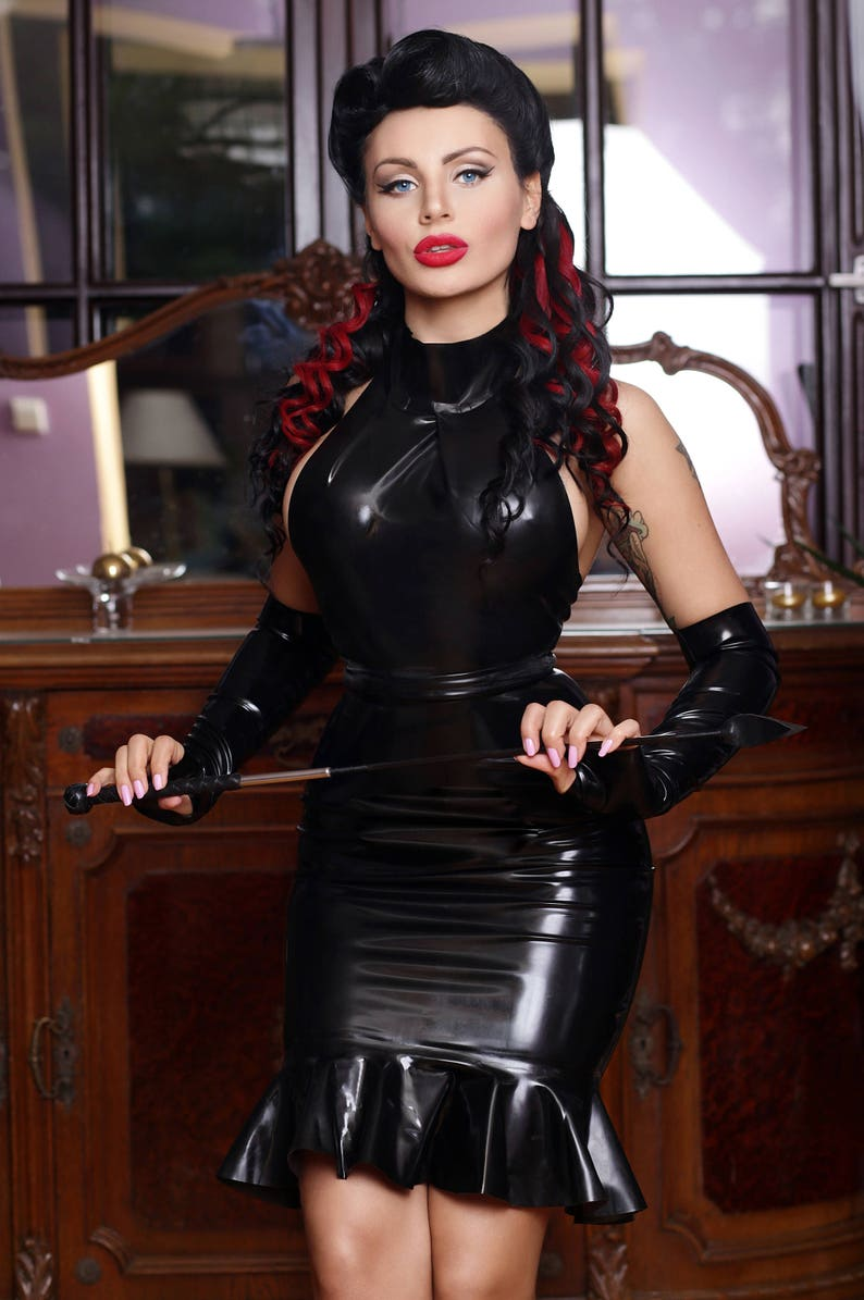 Long latex skirt with ruffles image 0