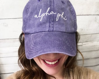 Alpha Phi Purple Twill Hat Adjustable Glide Closure Pigment Dyed