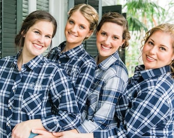 Navy Blue Bridal Party Flannels, Wedding Day Flannel Button-Ups
