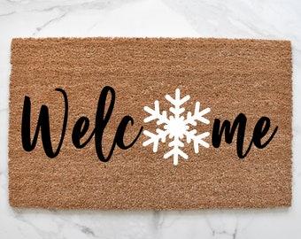 Christmas Decorative Doormat-Let It Snow Winter Snowflake,Non Slip Indoor//Outdoor//Front Door//Bathroom Entrance Mats Rugs Carpet