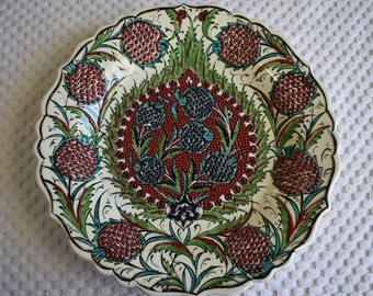 Pomegranate Ceramic Platter, large serving plate with intricate raised detailing