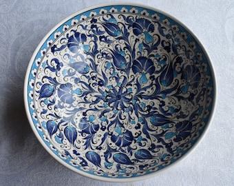 Blue and White ceramic bowl, large serving bowl with Iznik design