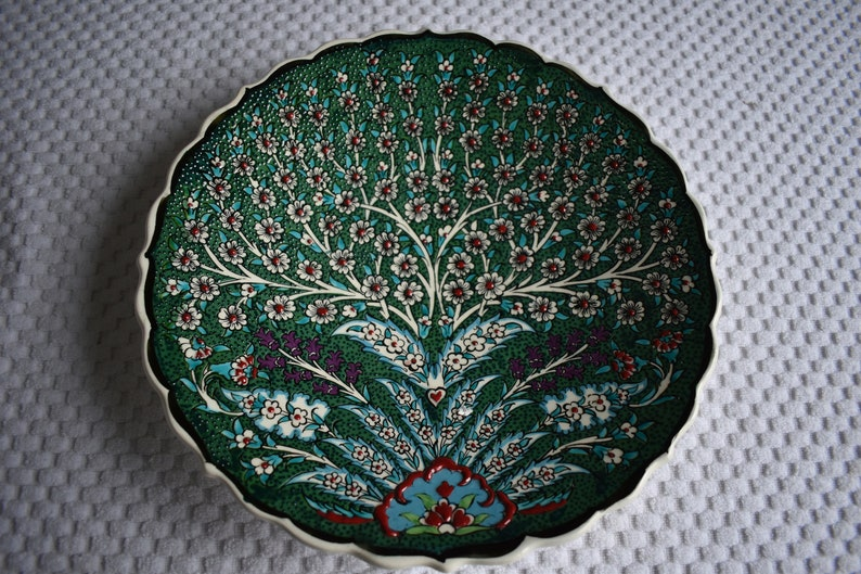 Emerald Green Ceramic Platter with Tree of Life design image 0