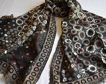 Merino Wool Scarf, embroidered and beaded. Black and Tan