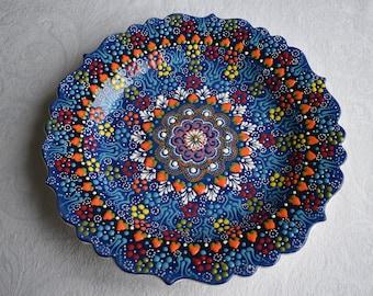 Blue Ceramic Platter, large serving plate or decorative wall art